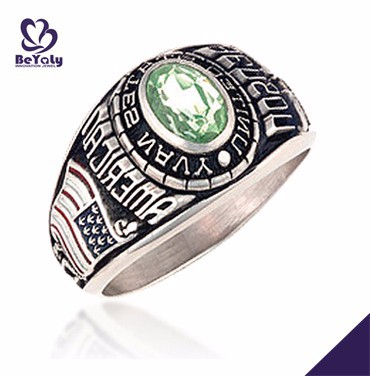 American Navy royal green & white cubic zirconia gemstone silver ring