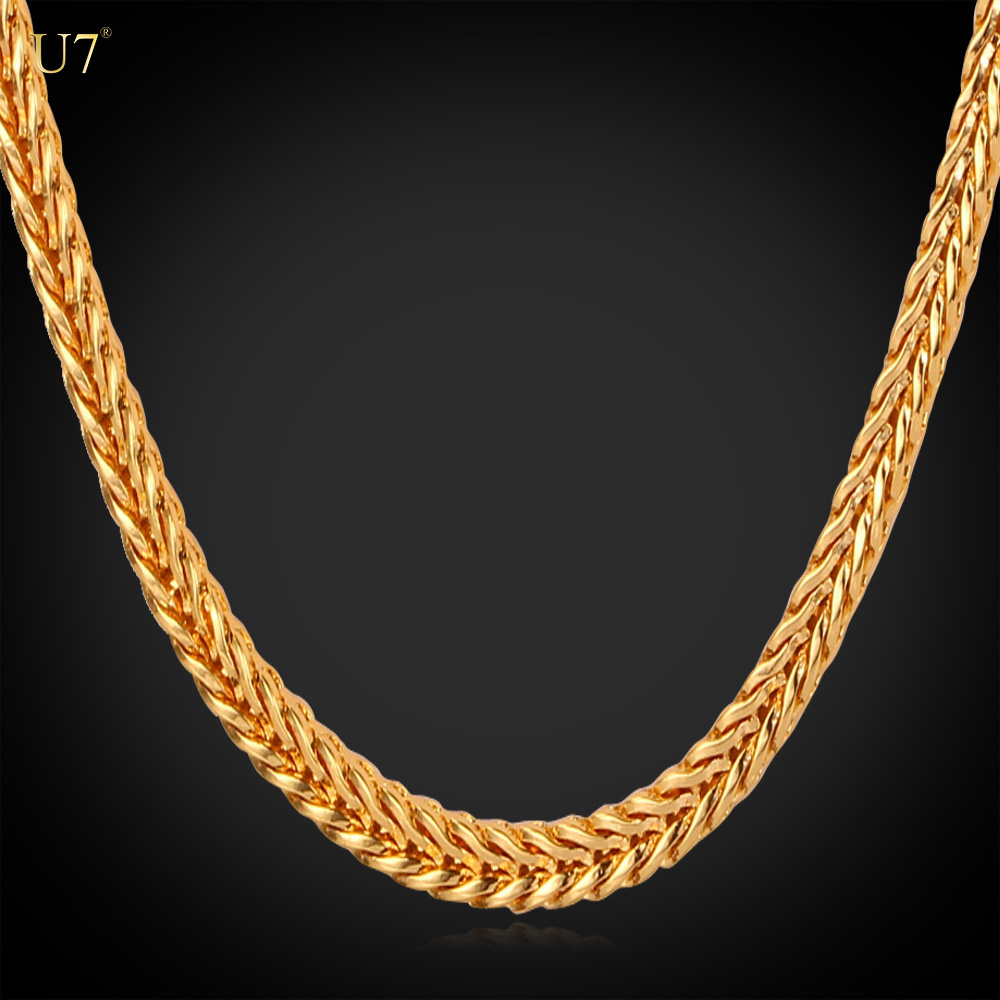 girls boys gold filled box link chains 4mm wide Foxtail necklace chain