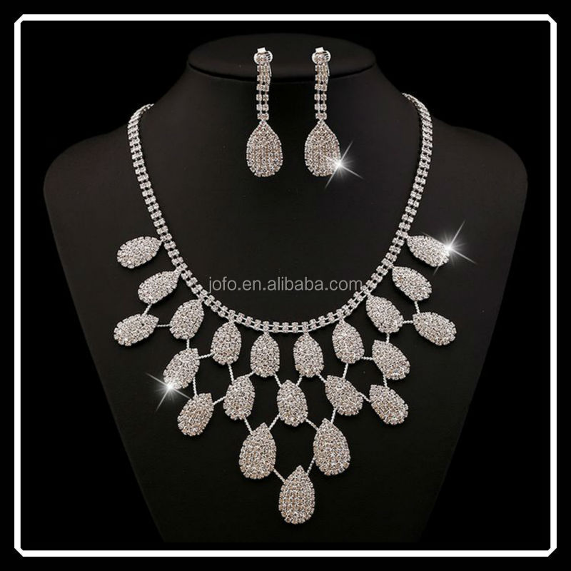 Women Party Silve Plated African Jewelry Sets Crystal Water Drop Necklace Earrings Wedding Dress Accessories