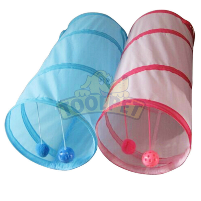 Free Sample 190T Polyster Cat Tunnel with Plastic ball Toy Pet Toy Cat Playing Tunnels