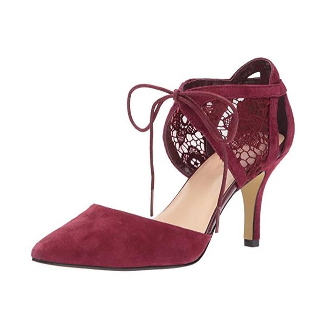 Handmade Sheepskin Fashion High Heel Lace Up Purple Women Dress Shoes