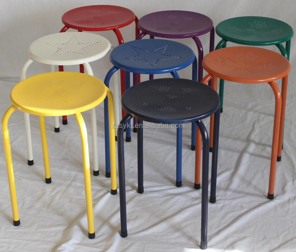 Cheap colorful small metal stacking stool with metal legs wholesale