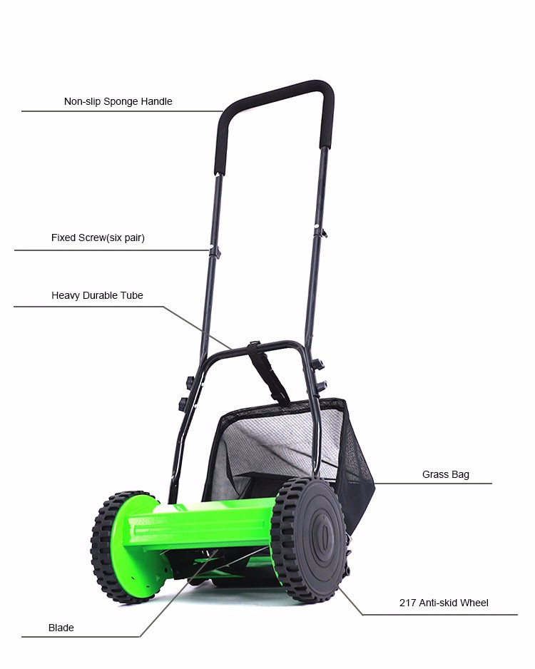 High efficient Garden tools Hand Push grass cutting machine with 4 wheels