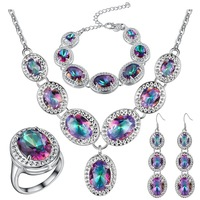african jewelry set costume jewelry necklace sets,fashion silver colorful diamond simple jewelry pendant necklace sets