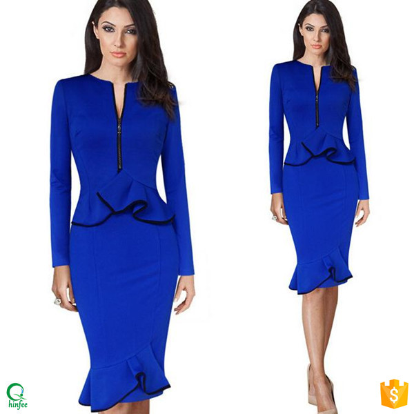 D470 Elegant 2016 Long Sleeved Peplum Ladies Designer Office Dresses