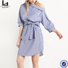Ladies fashion clothing striped belt asymmetric one off the shoulder button side shirt casual dress