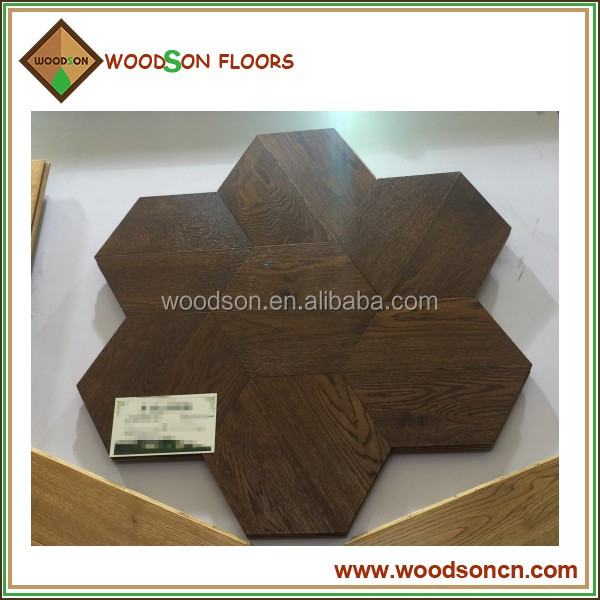 Commercial Natural Oak Engineered Hexagonal Wood Parquet Flooring
