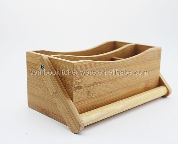 Bamboo kitchen tool caddy