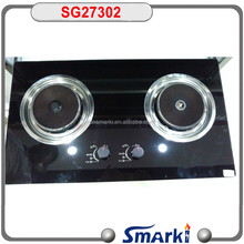 two burner ceramic infrared gas burner SG27302 with tempered glass panel, hot model for Asian market