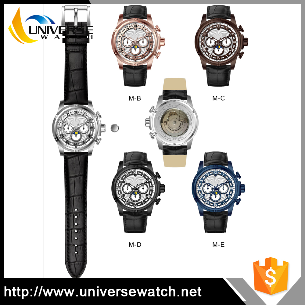 Black Leather Bracelet Watch Luxury Automatic Stainless Steel Man's High Quality Wrist Watch