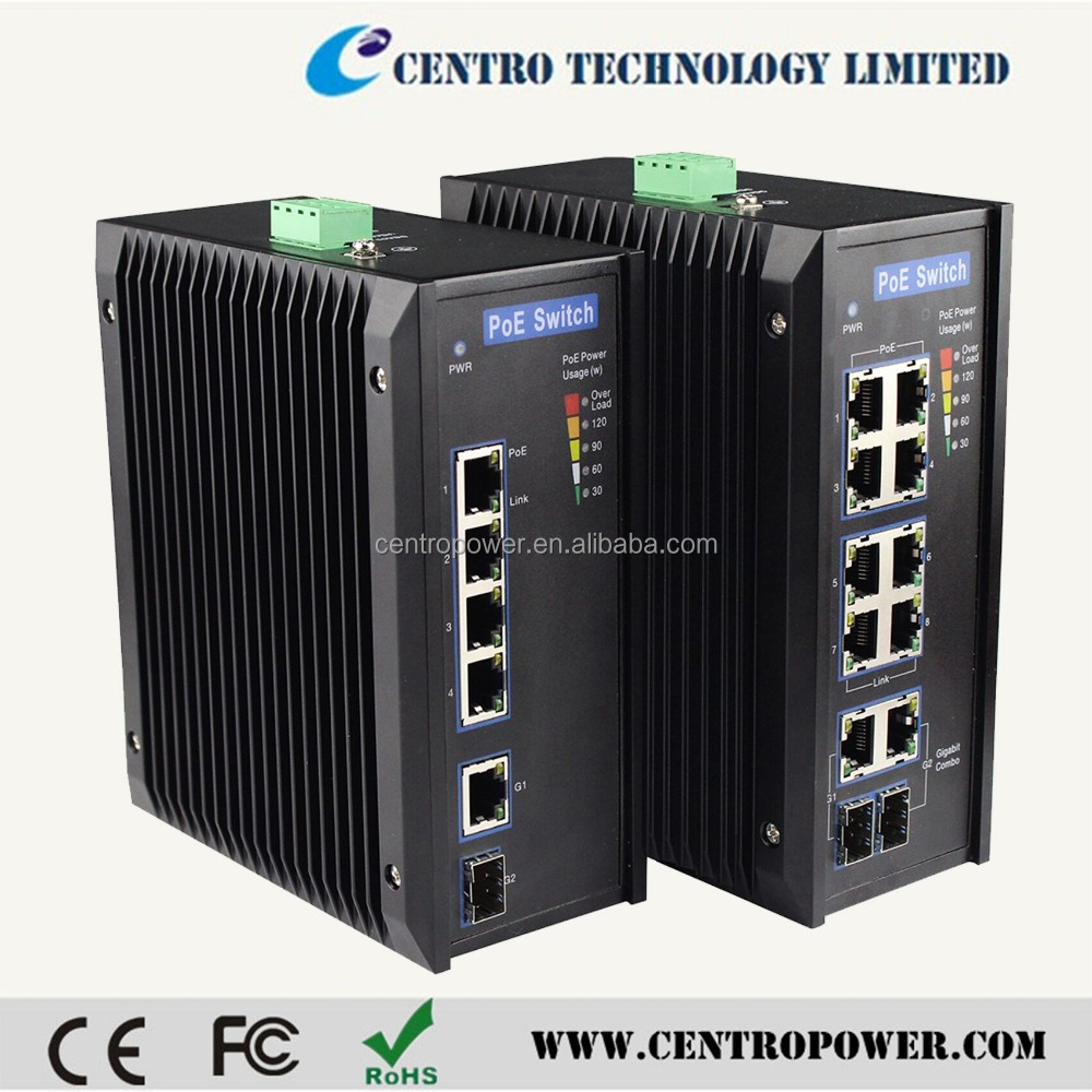 Industrial POE Switches 8+2 port POE Managed Gigabit Industrial Ethernet Switch