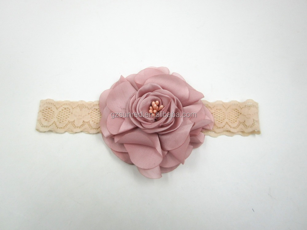 Elastic Lace girls fabric headbands With Big Flower , Infant Hair Accessories