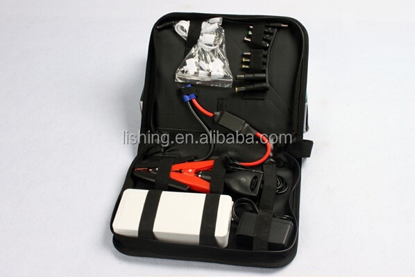 Portable jumper cable power booster supply car jump starter pack tire inflator charger