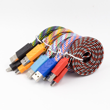 Wholesale 3ft 1m Flat Micro USB Cable Braided V8 Data Cable For Nokia 6030 n70