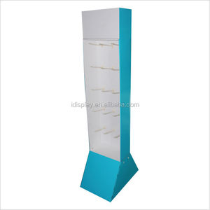 Floor stand single side corrugated cardboard peg hook display,New unbreakable sock/knife peg hook floor display stand