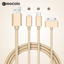 Mocolo high quality Micro usb type c 3 in 1usb cable mobile data connector for Android and iPhone