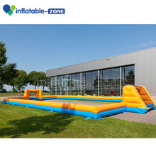 Inflatable 2 layer football field, inflatable water football court with pool