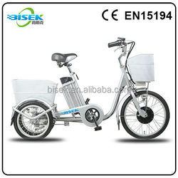 Adult cheap three wheel electric tricycle with front and rear baskets for sale