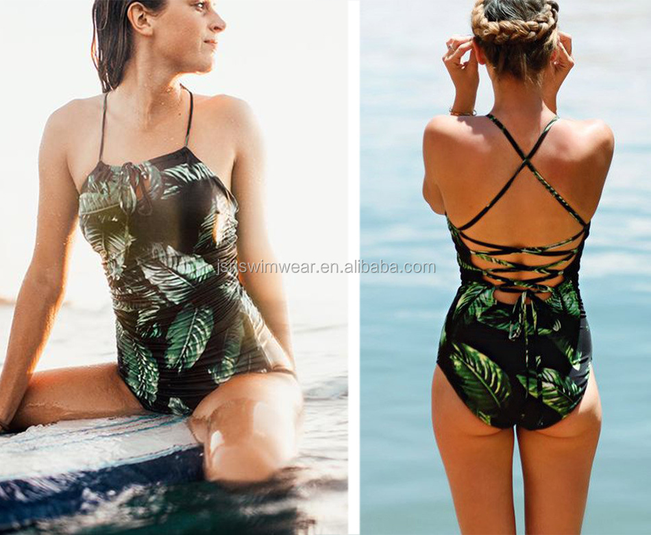 JSN22 2018 Sexy One Piece Women Swimwear Vintage Print Bodysuit Bandage Cut Out Beach Wear Bathing Suit Monokini Swimsuit