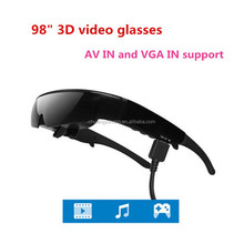 98inch Portable virtual screen eyewear 3d Video Glassses with vga for pc