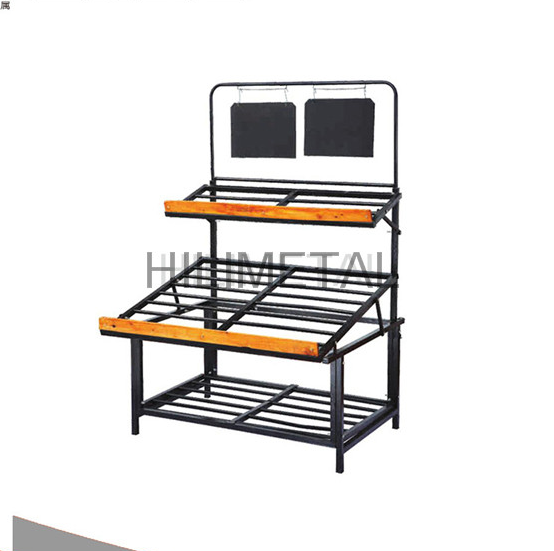 Free standing store storage stand fruit vegetable display rack 2 layers