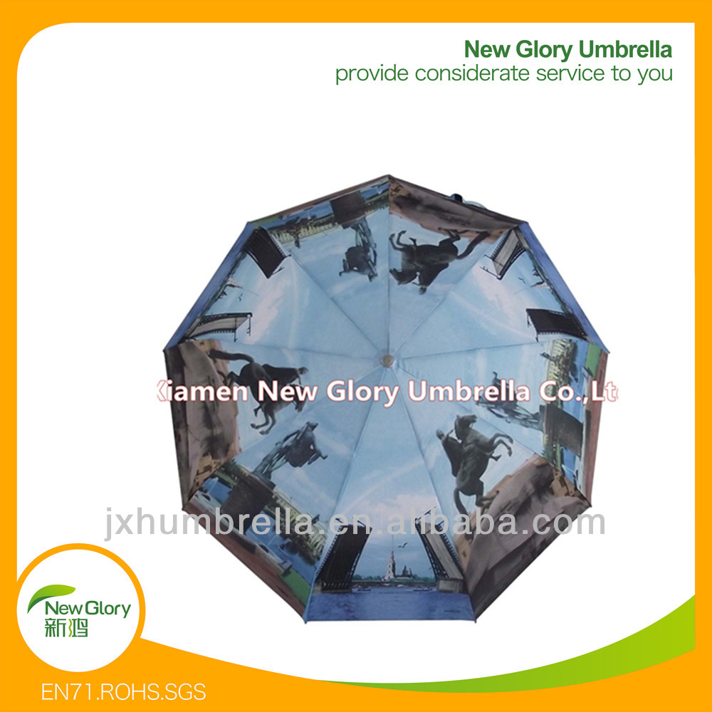 "21""*8k cheap automatic open print artwork custom photo printing umbrella"