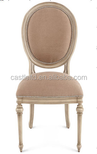Vintage style solid hard wood french dining chair,upholstered round back and seat side chair
