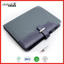 Top quality PU leather executive business planner notebook with metal buckle closure