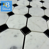 Black dots carrara mosaic tile patterns for tables