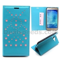 Unique Dots Pattern Card Holder Flip TPU+ PU Leather Case for Samsung Galaxy J7