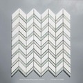 Beautiful White Thasoos Mixed Ming Green Marble Chevron Mosaic Tile