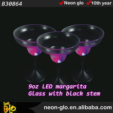 9oz LED Margarita Glass with black stem,party decoration