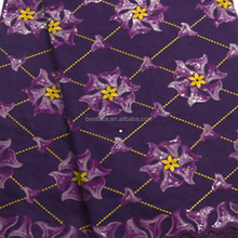 Designer Sarees China Cheap Purple Bridal Lace Embroidered Organza Fabric