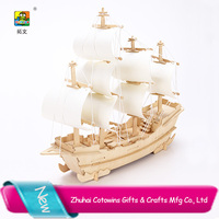 Cotowins giveaway gifts china manufacture toy ship plywood Wooden puzle toy factory Antique Wooden Ship Model
