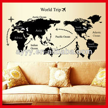 AY9134 black map of world trip decorative wall sticker DIY removable living room kids room wall decal