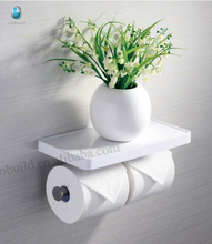 stainless steel double toilet paper holder with phone shelf