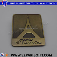 French oak antique bronze metal logo nameplate for outdoor