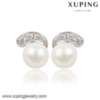 91439-xuping fashion imitation jewelry dangle freshwater pearl earrings