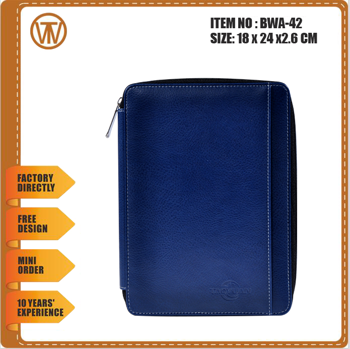 BWA-42 zipper / metal ring binder/document holder/file folder with 3 color cover