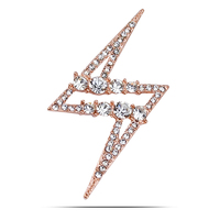 Simple Brooch Pins Jewelry Genuine18K Gold Plated Clothes Pin Clasp CZ Crystal Micro Pave Broches For Lady