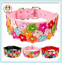 New 3 Rows Colorful Flower Studded Pu Leather Dog Pet Collar