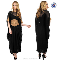 Hot sale good quality new design long chifon dubai kaftan evening dress