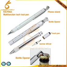 promotional metal hand tool 8 in 1 multifunction tool pen with bottle opener,ruler,stand,ball pen,screw driver(3 inch)