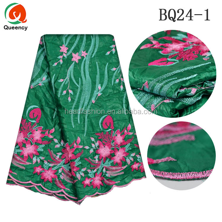 BQ024 Queency Wholesale Chinese Brocade Fabric Silk Embroidered Bazin Riche for African Lady Dress