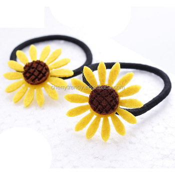 Floral Felt Sunflower Hairband Elastic Hair Tie Scrunchie Ponytail Holder