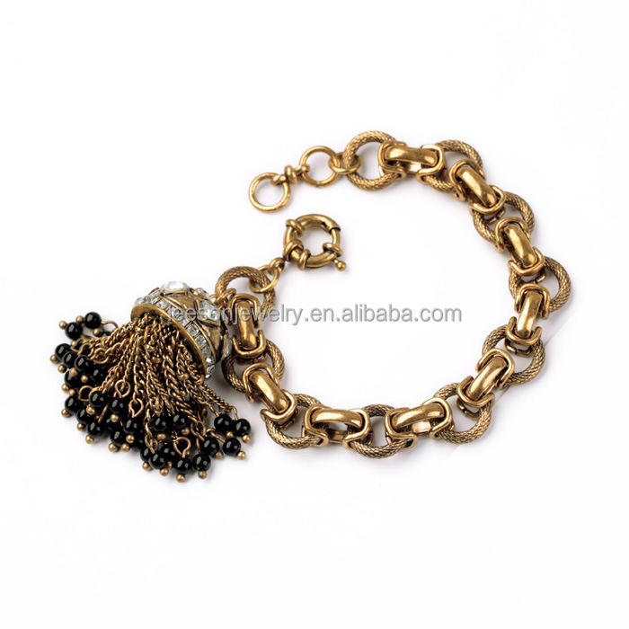 Fashion Women Jewelry Shiny Crystal Gems Gold Color Chain Tassel Charms Pendants Alloy Bracelet