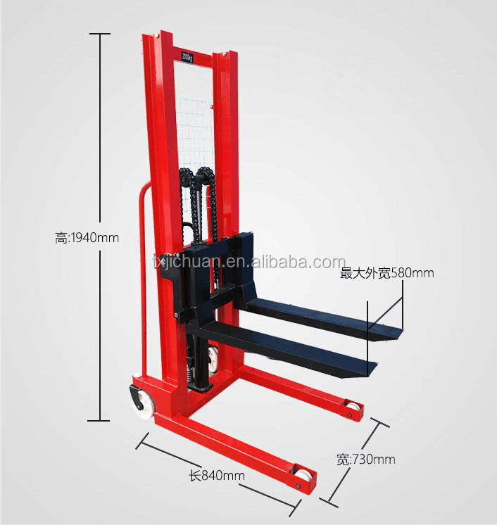 2ton manual hydraulic pump reach pallet stacker forklift