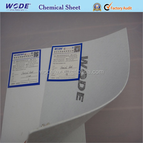Chemical sheet toe puff and counter shoe stiffener material