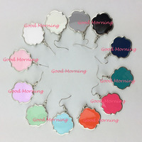 Monogram Enamel Quatrefoil Magnolia Disc Blanks Earrings