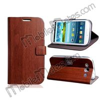New Wood Pattern Stand Wallet Leather Flip Case for Samsung Galaxy S3 i9300 Wooden Cover Case